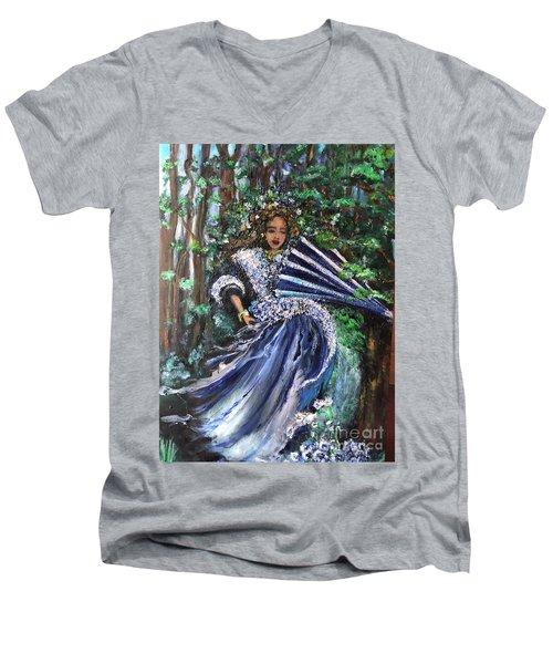 Lady In Forest Men's V-Neck T-Shirt