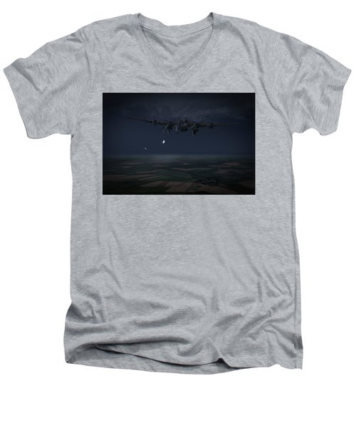 Men's V-Neck T-Shirt featuring the photograph Lancaster Baleout by Gary Eason