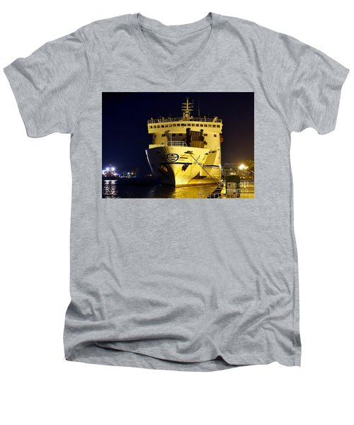 Large Ferry Docked In Port By Night Men's V-Neck T-Shirt