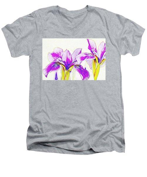 Lavender Irises Men's V-Neck T-Shirt