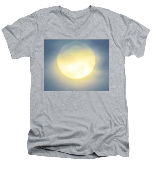Men's V-Neck T-Shirt featuring the photograph Leo Blue Super Moon by Judy Kennedy