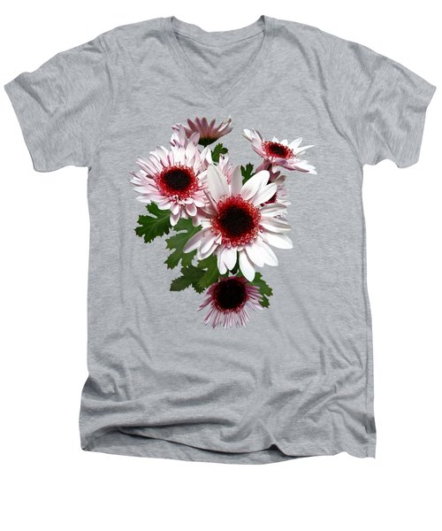 Light Pink Mums With Dark Pink Center Men's V-Neck T-Shirt