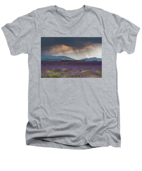 Lightning Over Lavender Field Men's V-Neck T-Shirt