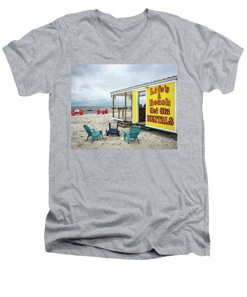 Like's A Beach Men's V-Neck T-Shirt