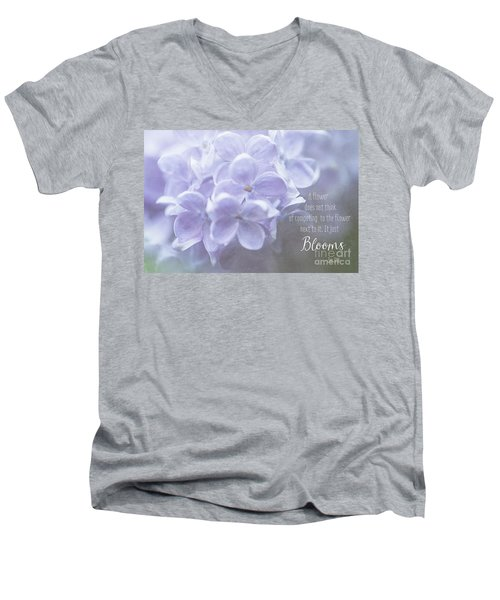 Lilac Blooms With Quote Men's V-Neck T-Shirt