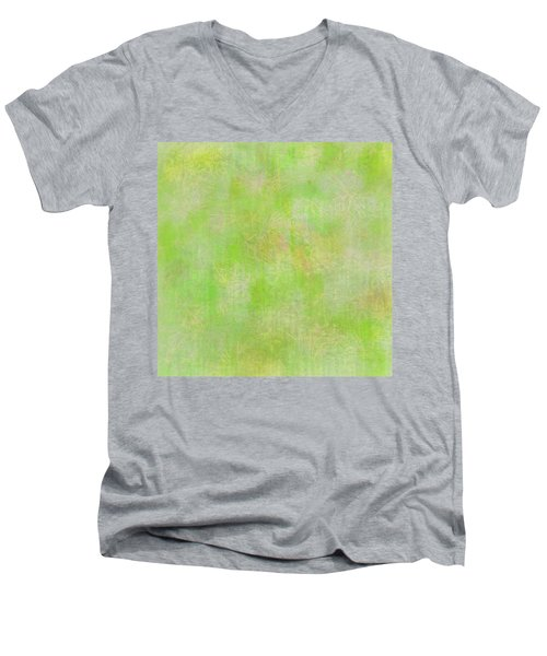 Lime Batik Print Men's V-Neck T-Shirt