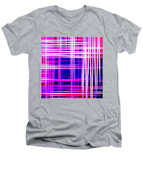 lines and squares in purple Color Waves - PL414 Men's V-Neck T-Shirt