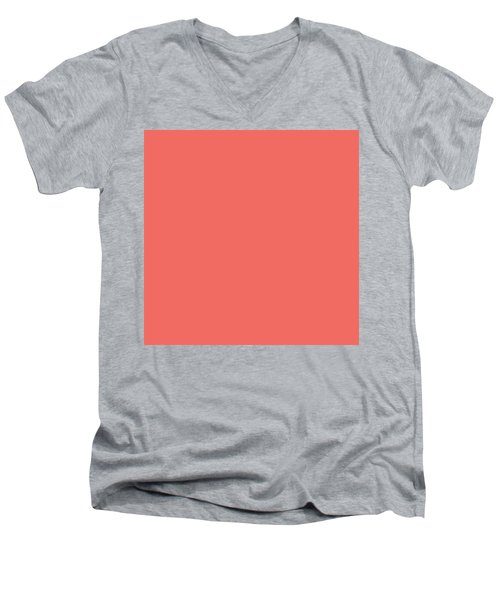 Men's V-Neck T-Shirt featuring the mixed media Living Coral - Pantone Color Of The Year 2019 by Carol Cavalaris