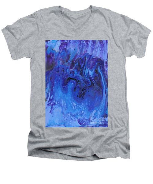 Men's V-Neck T-Shirt featuring the painting Living Water Abstract by Karen Jane Jones