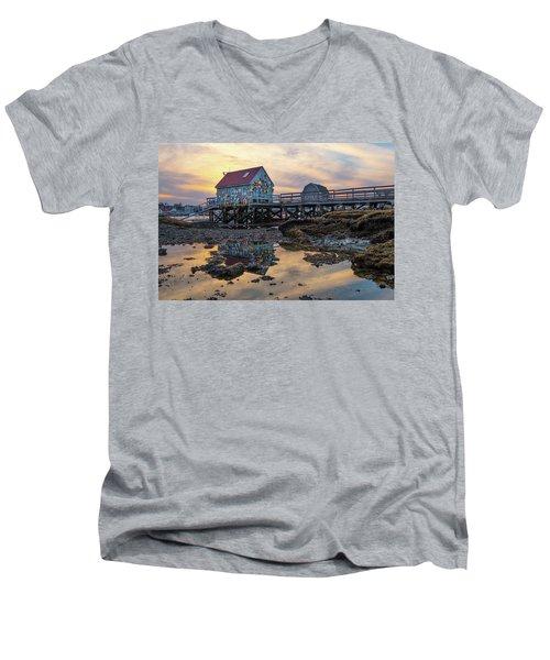 Low Tide Reflections, Badgers Island.  Men's V-Neck T-Shirt