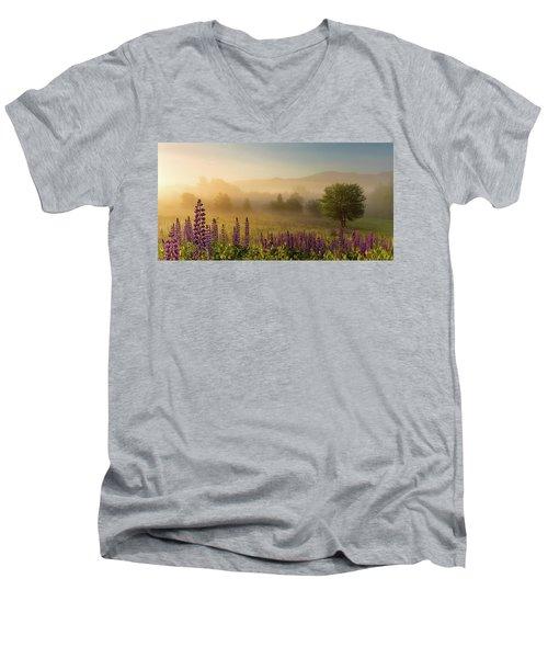 Lupine In The Fog, Sugar Hill, Nh Men's V-Neck T-Shirt