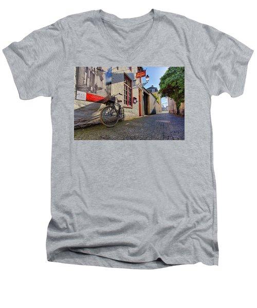 Lux Cobblestone Road Brugge Belgium Men's V-Neck T-Shirt