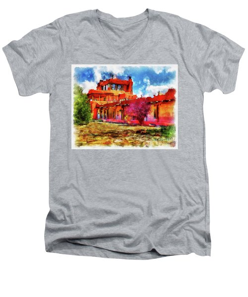 Mabel's Courtyard In Aquarelle Men's V-Neck T-Shirt