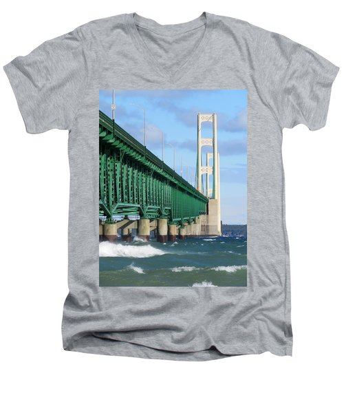 Mackinac Bridge And Waves Men's V-Neck T-Shirt