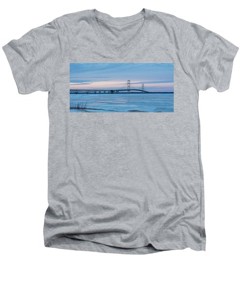 Mackinac Bridge In Ice 2161803 Men's V-Neck T-Shirt