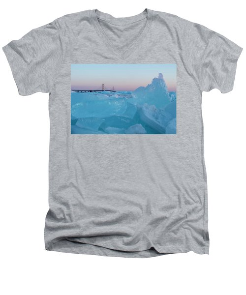 Mackinac Bridge In Ice 2161805 Men's V-Neck T-Shirt