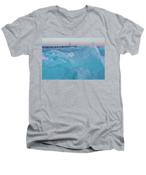 Mackinac Bridge In Ice 2161806 Men's V-Neck T-Shirt