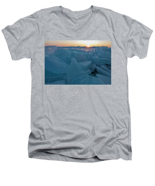 Mackinaw City Ice Formations 21618014 Men's V-Neck T-Shirt
