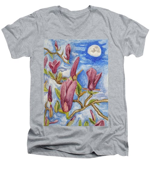 Magnolias With Daytime Moon Men's V-Neck T-Shirt