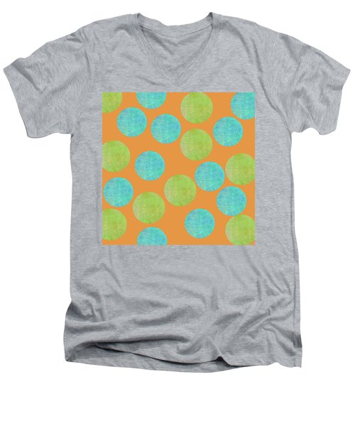 Malaysian Batik Polka Dot Print Men's V-Neck T-Shirt