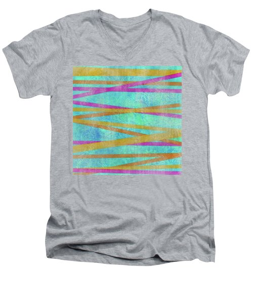 Malaysian Tropical Batik Strip Print Men's V-Neck T-Shirt