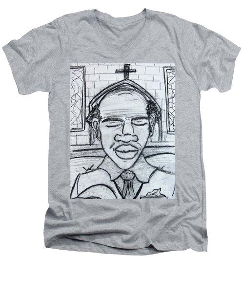 Man Praying  Men's V-Neck T-Shirt