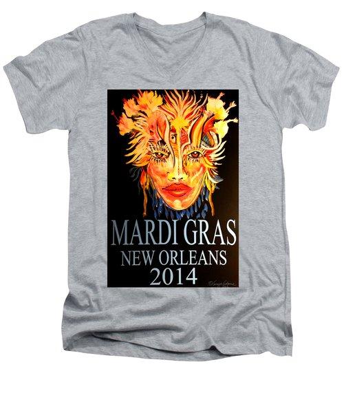Mardi Gras Lady Men's V-Neck T-Shirt