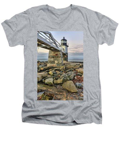 Marshall Point Light From The Rocks Men's V-Neck T-Shirt