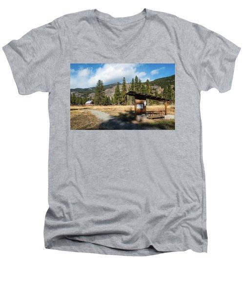 Mazama Barn Trail And Bench Men's V-Neck T-Shirt