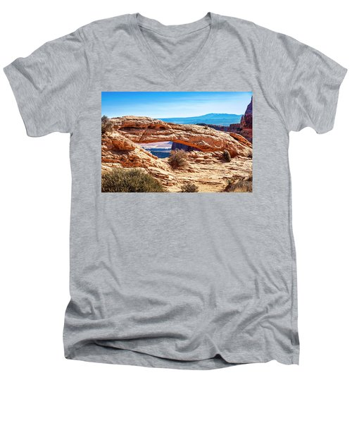 Men's V-Neck T-Shirt featuring the photograph Mesa Arch by Andy Crawford