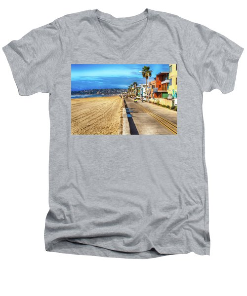 Mission Beach Boardwalk Men's V-Neck T-Shirt