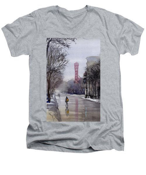 Misty Morning On Stae Street Men's V-Neck T-Shirt
