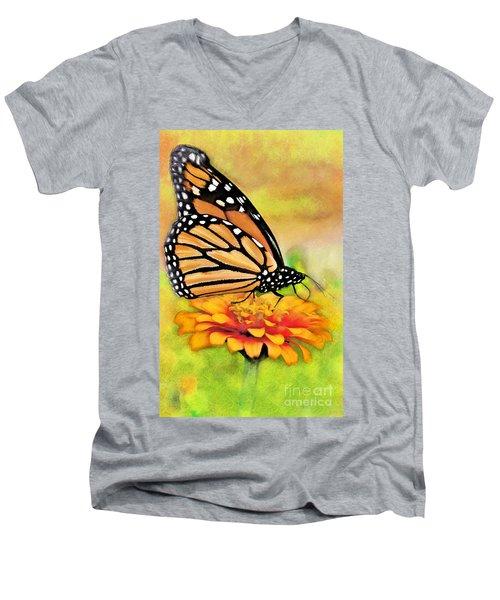 Monarch Butterfly On Flower Men's V-Neck T-Shirt