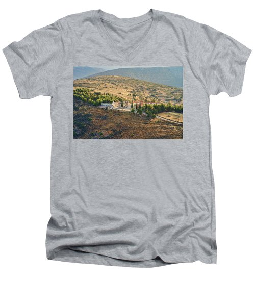 Monastery Agion Anargiron Above Argos Men's V-Neck T-Shirt