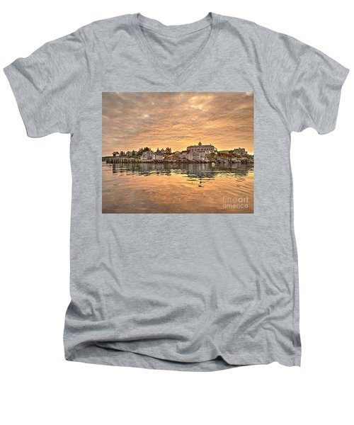 Monhegan Sunrise - Harbor View Men's V-Neck T-Shirt