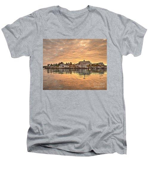 Monhegan Sunrise - Harbor View Men's V-Neck T-Shirt