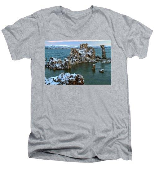 Mono Lake Tufa Towers Sunrise Men's V-Neck T-Shirt