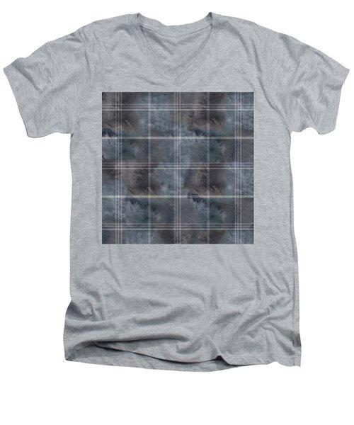 Moody Blue Plaid Men's V-Neck T-Shirt