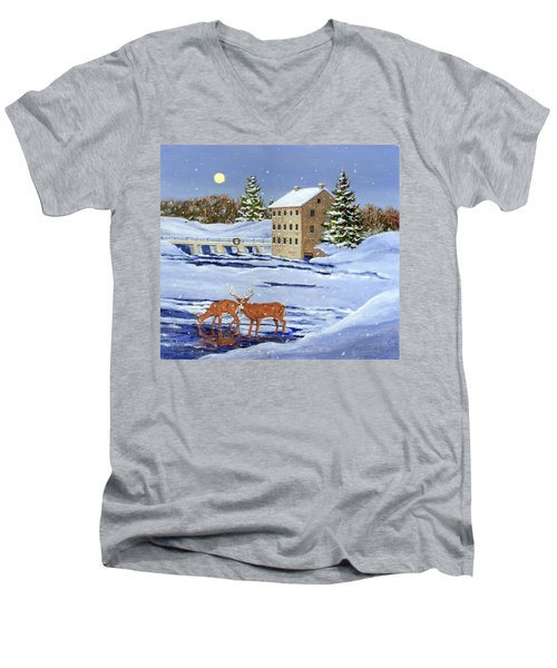 Moonlight Millpond Whitetails Men's V-Neck T-Shirt