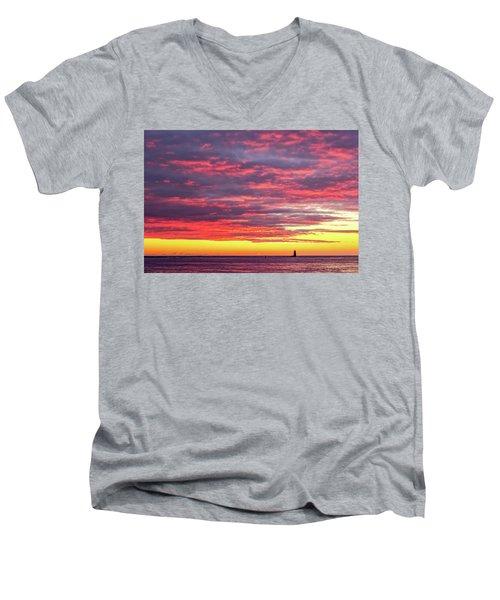 Morning Fire Over Whaleback Light Men's V-Neck T-Shirt