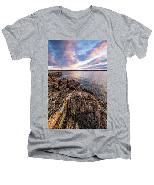 Morning Light Over The Piscataqua River. Men's V-Neck T-Shirt