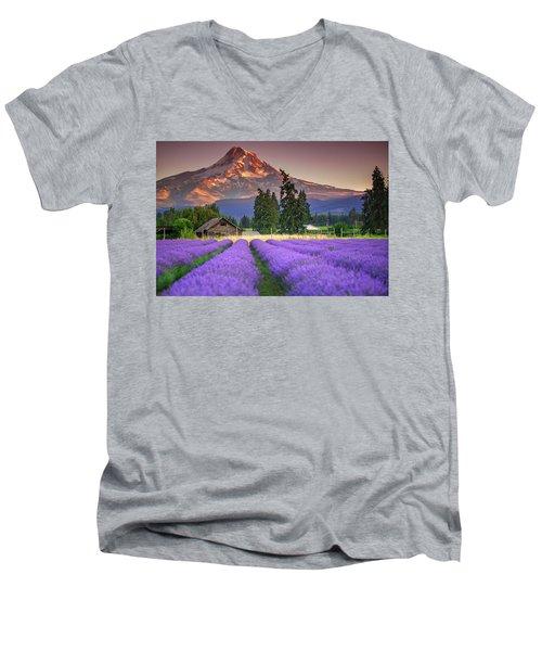 Mount Hood Lavender Field  Men's V-Neck T-Shirt