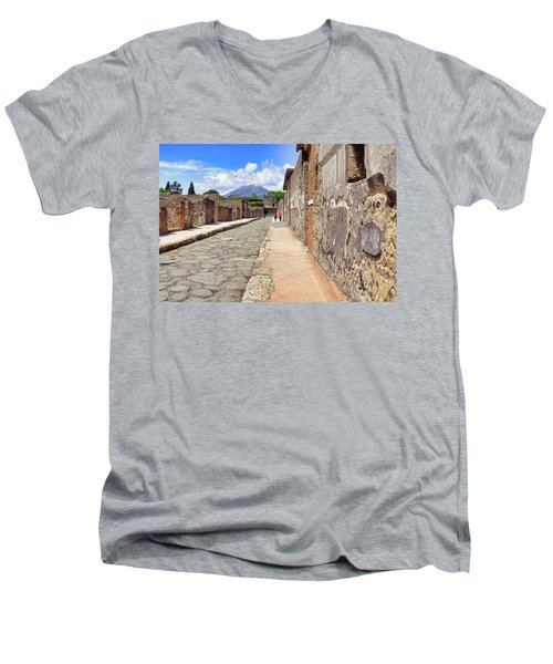 Mount Vesuvius And The Ruins Of Pompeii Italy Men's V-Neck T-Shirt