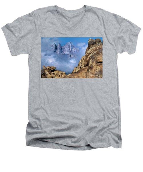 Mount Whitney Clearing Storm Eastern Sierras California Men's V-Neck T-Shirt