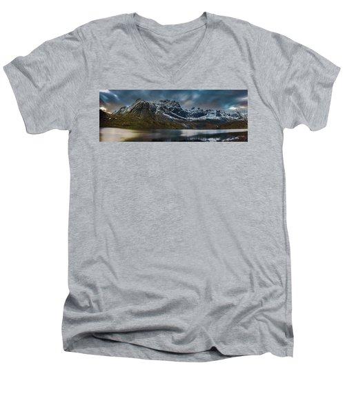 Mountain Lake In Norway On Lofoten Near Nusfjord Men's V-Neck T-Shirt