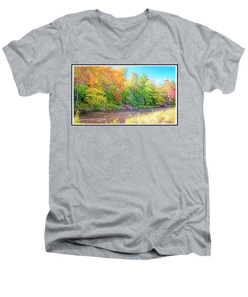 Mountain Stream In Early Autumn Men's V-Neck T-Shirt