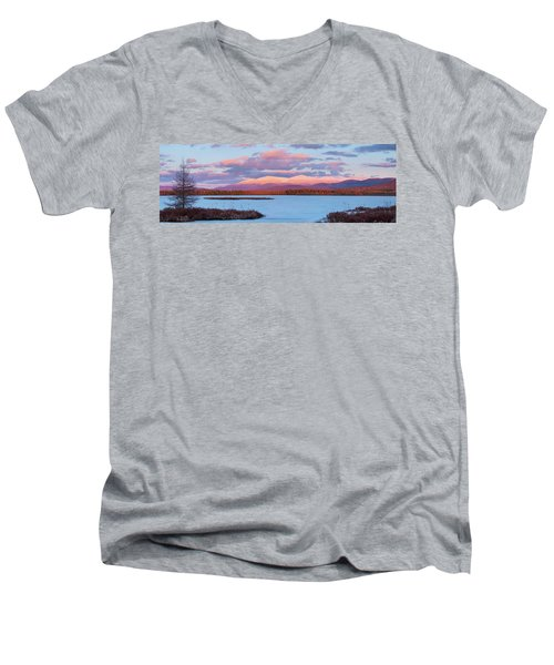 Mountain Views Over Cherry Pond Men's V-Neck T-Shirt