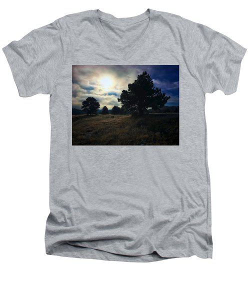 Men's V-Neck T-Shirt featuring the photograph Murky Atmosphere Elk Meadow by Dan Miller