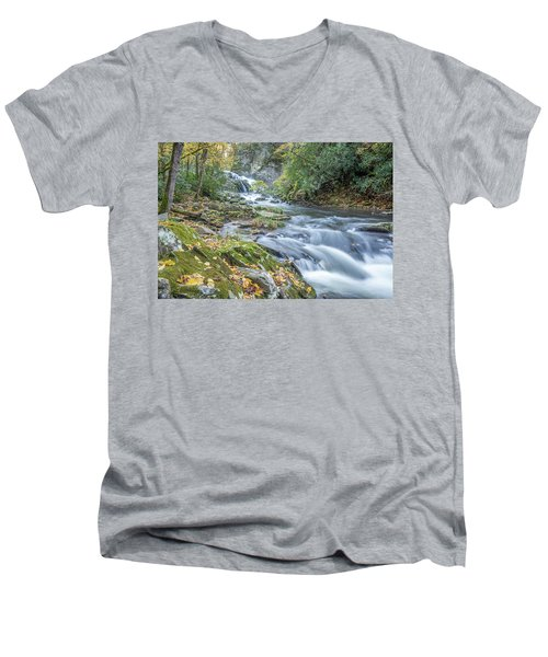 Men's V-Neck T-Shirt featuring the photograph Nantahala Fall Flow by David R Robinson