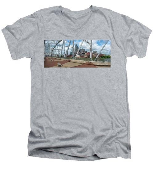 Nashville Cityscape From The Bridge Men's V-Neck T-Shirt